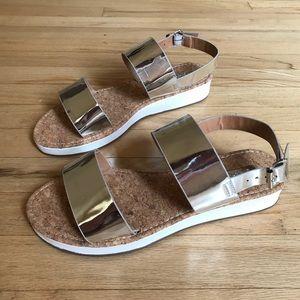 Silver block sandals